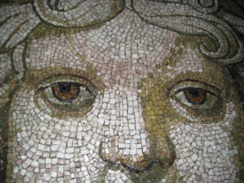 An up-close shot of a mosaic in the cupola of St. Peter's