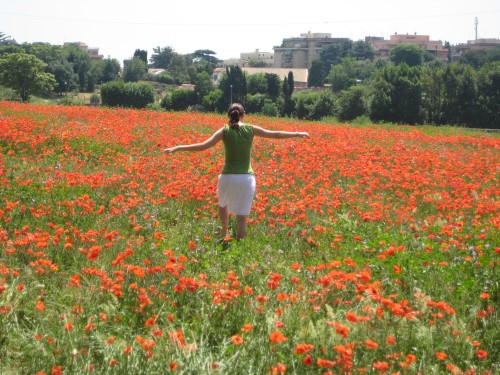 Me frolicking in a field of poppies and trying (unsuccessfully)) to not get giant needles in my foot