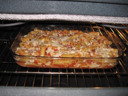 My baked ziti after only a few minutes in the oven. . . it was good, but there are some things I might tweak.  It is giving me six meals. . . yay for homemade lunches!